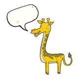 与讲话泡影的动画片长颈鹿 免版税库存照片