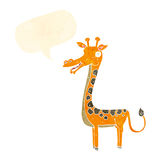 与讲话泡影的动画片长颈鹿 库存图片