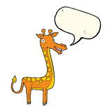 与讲话泡影的动画片长颈鹿 免版税库存图片