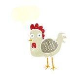 与讲话泡影的动画片鸡 免版税库存图片