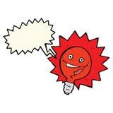 与讲话泡影的愉快的闪动的红灯电灯泡动画片 库存图片