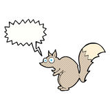 与讲话泡影的滑稽的被震惊的灰鼠动画片 免版税库存照片