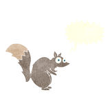 与讲话泡影的滑稽的被震惊的灰鼠动画片 库存图片