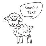 与讲话泡影的绵羊 与手拉的羊羔和泡影讲话的例证卡片 免版税库存图片
