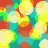 与许多五颜六色的圈子的抽象背景 免版税库存图片