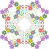 与许多五颜六色的花的无缝的模式- 免版税库存照片