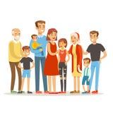与许多儿童画象的愉快的大白种人家庭与五颜六色所有的孩子和的婴孩和疲乏的父母 库存例证