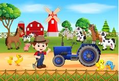 与许多动物和农夫的农厂场面 向量例证