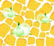 与许多可口切片的食物传染媒介无缝的样式乳酪和葱电灯泡 不尽的纹理 向量例证