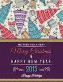 与许多圣诞树的背景和愿望发短信 库存例证