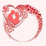 与许多心脏的一个花圈 图库摄影