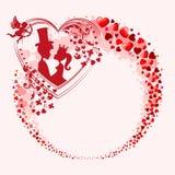 与许多心脏的一个花圈 免版税库存照片