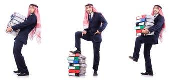 与许多文件夹的阿拉伯商人在白色 免版税库存照片