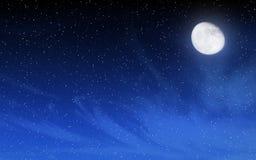 与许多星和月亮的深夜天空 免版税库存照片