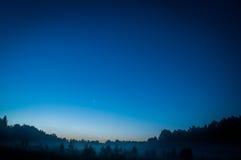 与许多星的蓝色黑暗的夜空在树上的领域 Milkyway波斯菊 免版税库存图片