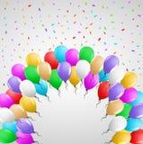 与许多气球的卡片 库存照片