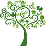 与许多生态图标的绿色结构树 免版税库存图片