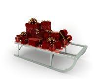 与许多的冬天雪橇与金丝带的红色礼品 免版税库存图片