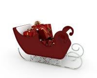 与许多的圣诞老人雪橇红色礼品 免版税库存照片