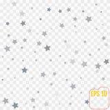 与许多的抽象背景落的银色星五彩纸屑 库存图片