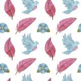 与许多的无缝的水彩样式鸽子 免版税库存照片