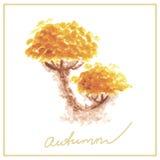 与许多的橙色秋天树离开水彩 免版税库存图片