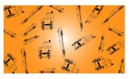 与许多的橙色背景路汽车-传染媒介例证 向量例证