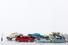 与许多的碰撞事故汽车 库存照片