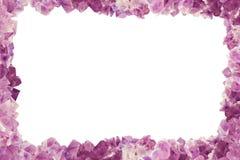 与许多石头紫晶,边界中心的框架isilated Backgro 库存图片