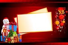 与许多礼品和看板卡的雪人 免版税图库摄影
