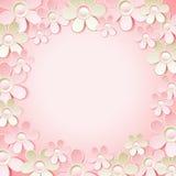 与许多花的桃红色背景,传染媒介 免版税图库摄影