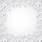 与许多花的白色华伦泰背景, vec 免版税库存照片