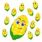 与许多表达式的玉米动画片 免版税库存照片