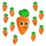 与许多表达式的红萝卜动画片 免版税库存图片