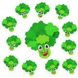 与许多表达式的芹菜动画片 免版税库存照片