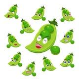 与许多表达式的豌豆动画片 免版税图库摄影