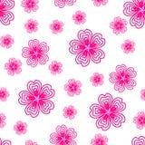 与许多重复的桃红色花的样式 免版税库存图片