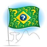 与许多问号的巴西旗子 库存照片