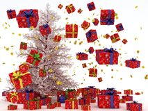 与许多飞行礼品的圣诞树。 免版税库存照片