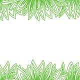 与许多绿色叶子的边界框架 免版税库存图片