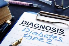 与诊断糖尿病第二类型的诊断形式 免版税库存照片