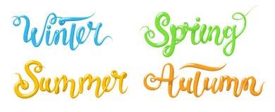 与词冬天,春天,夏天,秋天的书法 在3d样式的手拉的字法日历的 向量 免版税库存图片