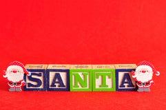 与词圣诞老人的两圣诞老人` s 库存图片