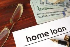 与词房屋贷款的纸 免版税库存照片