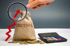 与词收入和一个箭头的金钱袋子 企业成功、财政成长和财富的概念 增加赢利和 免版税库存照片
