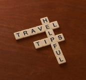 与词有用的旅行技巧的纵横填字游戏 世界旅行co 免版税图库摄影