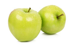 与词根的成熟两个苹果 库存照片