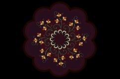 与词根的被绣的橙色在波浪小珠框架的花和叶子在黑背景 免版税库存照片
