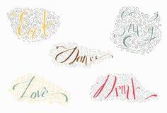 与词的五颜六色的字法跳舞,喝,吃,爱,唱歌 用手拉的线、漩涡和小点装饰 也corel凹道例证向量 图库摄影