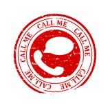 与词的损坏的红色圆的邮票-告诉我,电话现在的传染媒介 皇族释放例证